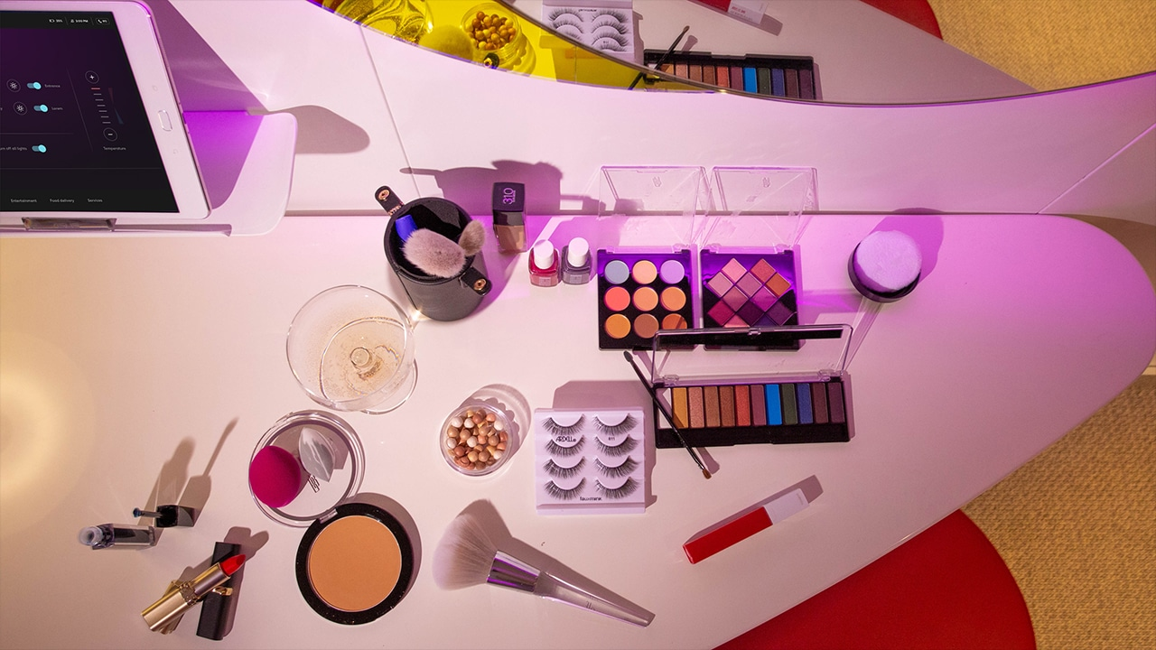 Makeup table on Scarlet Lady