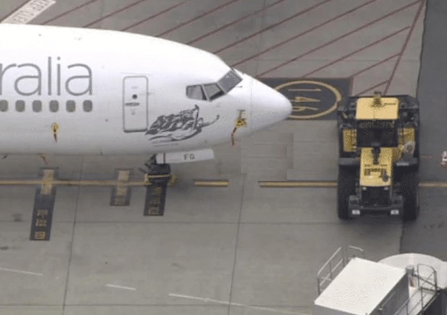 Bulldozer blocks Virgin Australia plane