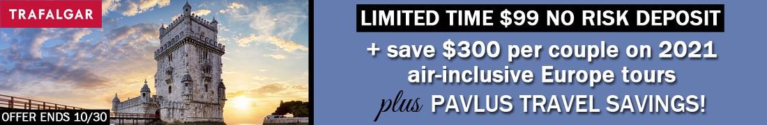 Trafalgar $99 Deposit & Air Credit